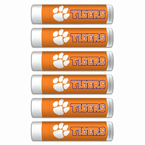 (NCAA Clemson Tigers Premium Lip Balm 6-Pack Featuring SPF 15, Beeswax, Coconut Oil, Aloe Vera, Vitamin E. NCAA Gifts for Men and Women, Mother's Day, Fathers Day, Easter, Stocking Stuffers)