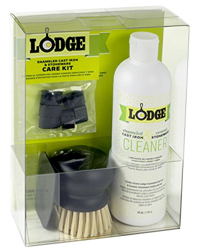 Cleaning Enameled Cast Iron Cookware (Lodge Enameled Cast Iron & Ceramic Stoneware Care Kit - 100% Biodegradable Gentle Cleaning Bundle)