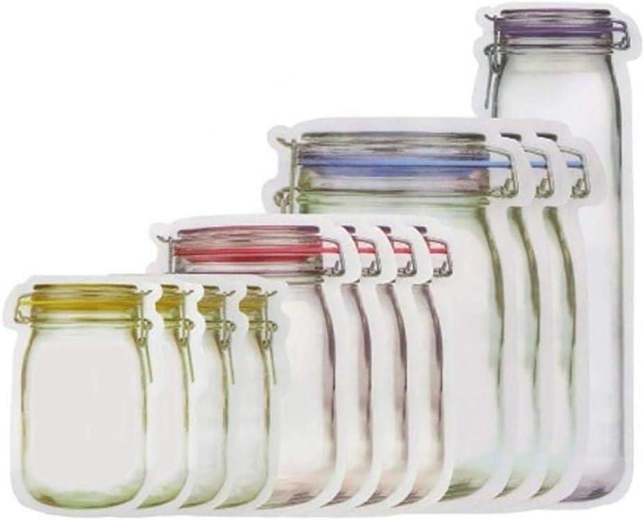 Kloius 12Pcs Barattolo Riutilizzabile Sigillo Impermeabile Borsa per Alimenti freschi Snack Borse a Chiusura Lampo Coperchi antischizzo