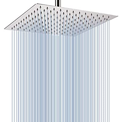 Large Rainfall Shower Head, Voolan Adjustable 12'' Luxury Fixed Showerhead for Bathroom, High FlowBath Shower for Best Relaxation, Universal Wall and Ceiling Mount (Square)