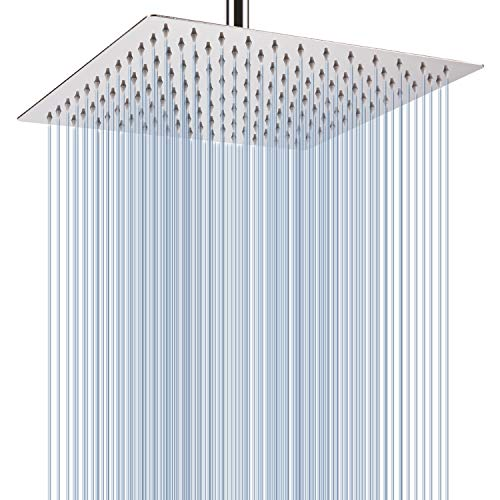 Bathroom Rain Heads Showerheads - Large Rainfall Shower Head, Voolan Adjustable 12'' Luxury Fixed Showerhead Made of 304 Stainless Steel, Universal Wall and Ceiling Mount (Square)
