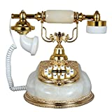 HYY@ European vintage keys white natural jade landline telephones