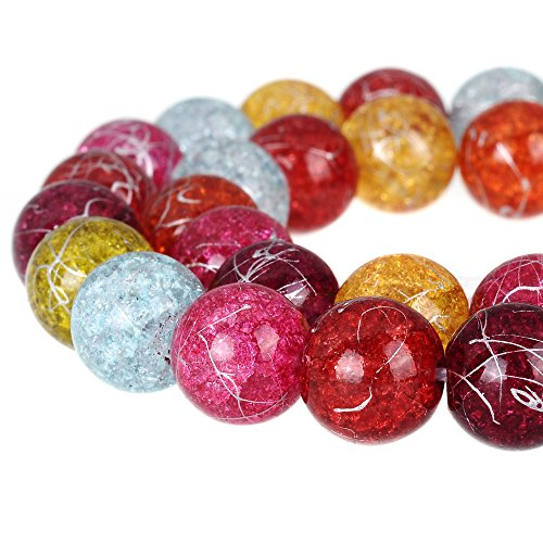 RUBYCA Round Crackle Druk Czech Crystal Glass Beads for Jewelry Making 10mm Strand (Mix Colors) ()