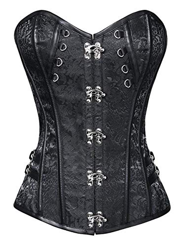 Women's Steampunk Classic Gothic Overbust Corset Tops Bustier (Black #326,Small)