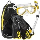 Cressi Palau Short Onda Dry Snorkel Deluxe Bag Mask Fin Snorkel Set - Yellow - ML