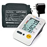 LotFancy FDA Approved Auto Digital Arm Blood Pressure Monitor with Power Adapter,4 Inch LCD,30x4 Memories for 4 Users,Irregular Heartbeat Detector,WHO Indicator (Adapter+M Cuff 8.6-14.2 inch)