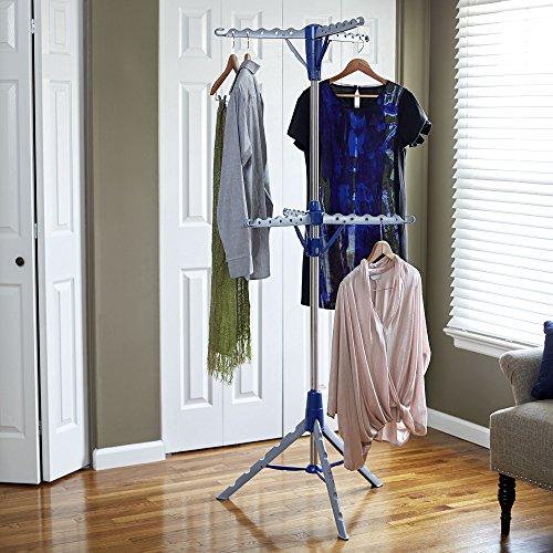 Household Essentials 5012-1 Portable 2-Tier Clothes Drying Rack Tri-pod | Dry Wet Laundry or Hang Clothes | Silver and Blue
