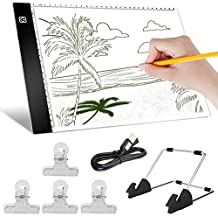 A4 LED Light pad, Cozonte Diamond Painting Light Pad Apply to DIY 5D Diamond Painting, See Symbols and Numbers Clearer, Light pad with Detachable Stand and Clips