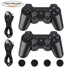 PS3 Controller-Six Axis Retropie Controller Support Wireless Bluetooth Dual Shock Used for Sony, PC, Playstation 3 with Charging Cable and Joystick Cap (2 Pack, Black Joypad)