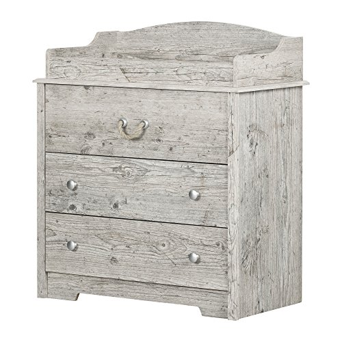 Dresser Changing Station - South Shore 11894 Aviron Changing Table with Drawers, Seaside Pine