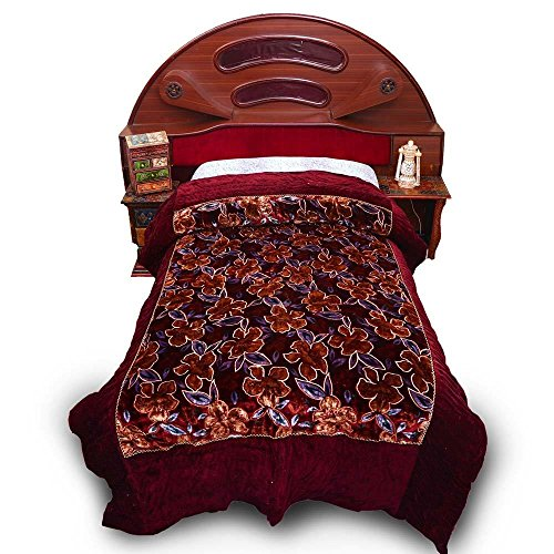 E-Tailor 152 TC Twin Size Jaipuri Style Floral Single Bed Gold Velvet Quilt Brown 90x60 - Jaipuri Velvet