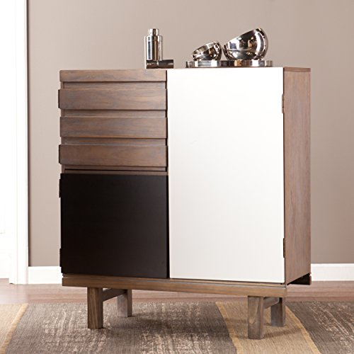 "Holly & Martin 7 Shelf Kitchen Storage Cabinet - 40"" Tall - Burnt Oak w/White & Black Finish"