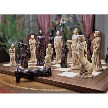 The Gods Playing Games Ancient Greece Zeus Aphrodite Centaur Chess Set Sculpture(The Digital Angel)