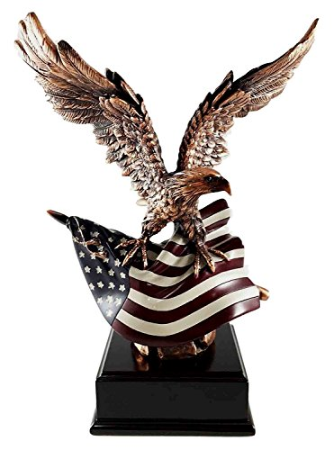 Wings of Glory Bald Eagle With American Flag Bronze Electroplated Figurine Freedom Liberty Patriotic - American Eagle Bald Figurine