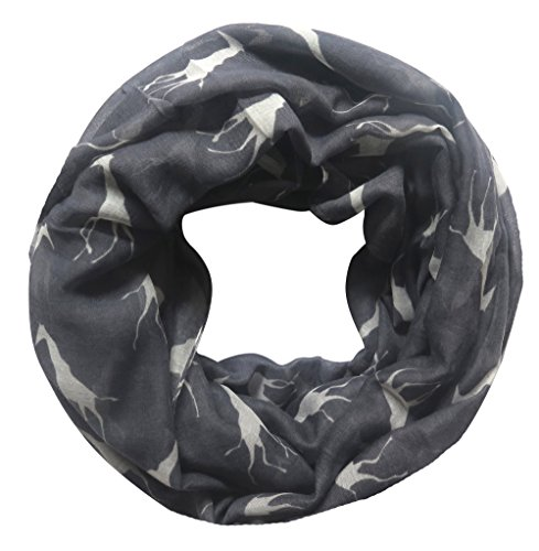 Lina & Lily Giraffe Print Infinity Loop Scarf for Women Lightweight (Dark Grey with White)