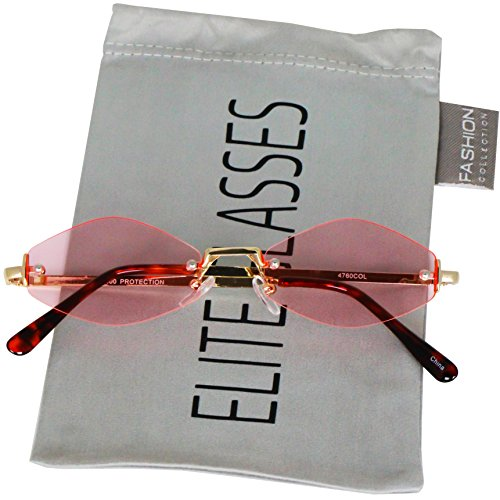 Retro Vintage Small Tiny Narrow Rimless Oval Geometric Gold, Diamond Hexagon Shape Smoke Mirrored and Color Tinted Sun Glasses (Pink)