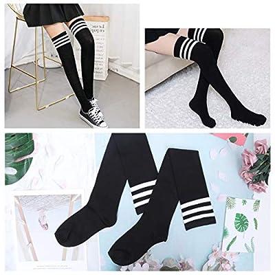 Womens Stripe Thigh High Socks - Leg Warmer Dresses Over Knee High Stockings Cosplay Socks(black): Clothing