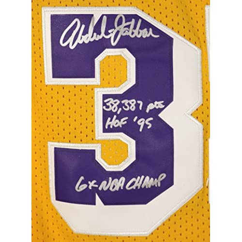 903d92bfb103 ... coupon code for kareem abdul jabbar los angeles lakers signed  autographed yellow 33 jersey coa chic