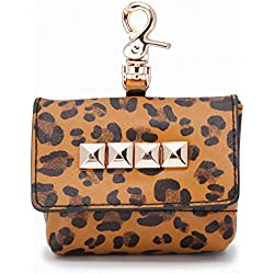 LazyBonezz The Studded Waste (Poop) Bag Dispenser Leopard with Gold Square Studs
