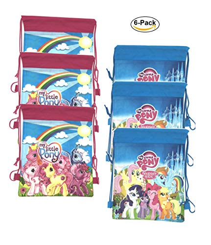 My Little Pony Party Bags for Kids Drawstring Bag Gift Party Favors 6 Pack -