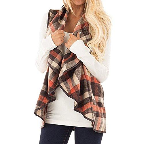 Mujer Chaleco de Cuadros, Primavera y Otoño Sin Cuello Mangas Chaqueta de Pelos Vest Pelo Sintetico Chaleco Ajustado Coat Jacket Outwear Cardigan Ropa de Abrigo Chaquetones Mujer Caqui