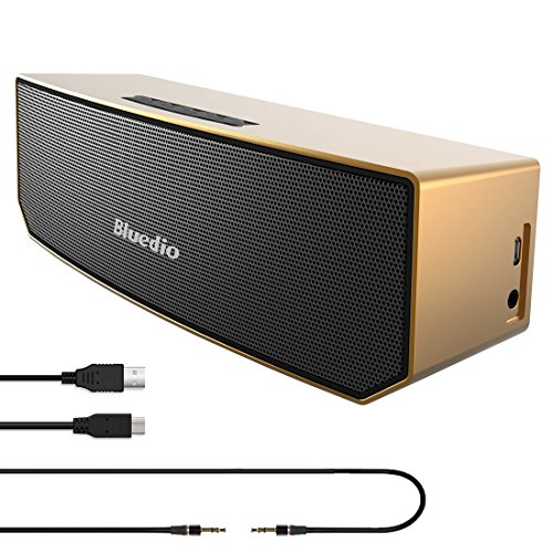 Price comparison product image Urvoix Bluetooth V4.1 Portable Wireless Stereo Bass Speakers w / Mic for Smart Phones,  Tablet & Laptop,  Gold