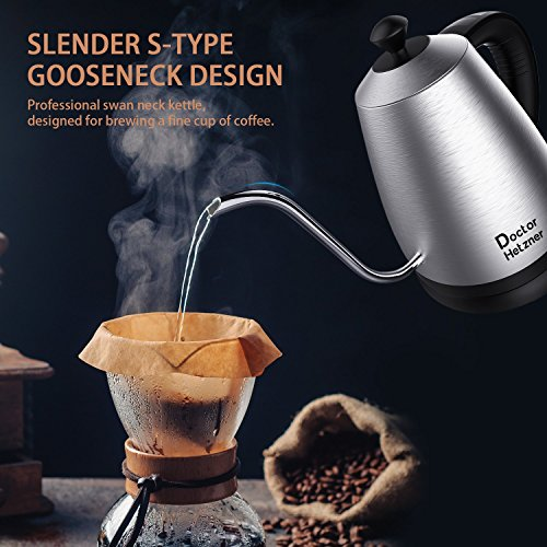 Electric Kettle with Variable Temperature, 1.2L Gooseneck Pour-Over Kettle for Drip Coffee and Tea, BPA-Free 304 Stainless Steel Kettle with LCD Display and Keep Warm Function Kettle, 1000W by Doctor Hetzner (Image #2)