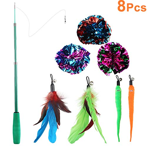 Upgrade Thicker Cat Toys Interactive Feather Teaser Wand, 8PCS Retractable Cat Feather Toy with Assorted Teaser Refills, Including Mylar Crinkle Balls for Kitten Chasing Playing Exercise