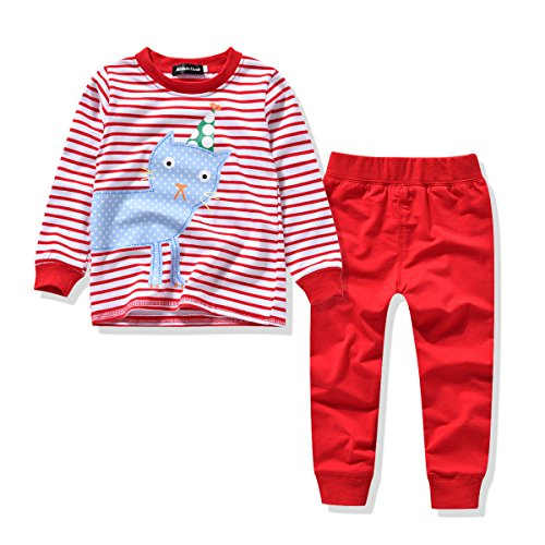Toddler Girls Pajamas 2 Pieces Sleepwear Set Cute Kitty Cat / Bunny Prints (4T, Kitty Cat)