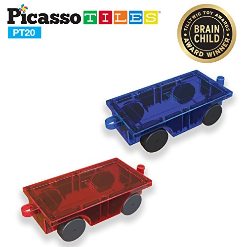 PicassoTiles® 2 Piece Car Truck Set w/ Extra Long Bed & Re-Enforced Latch, Magnet Building Tile Magnetic Blocks -Creativity Beyond Imagination! Educational, Inspirational, Conventional,& Recreational! ()