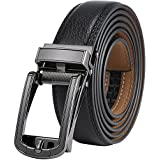Marino Men's Genuine Leather Ratchet Dress Belt with Open Linxx Buckle, Enclosed in an Elegant Gift Box - Gunblack Silver Round Open Buckle W/Black Leather - Custom: Up to 44