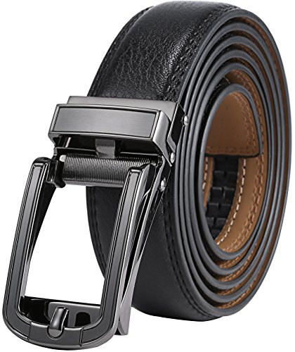 Genuine Belt (Marino Men's Genuine Leather Ratchet Dress Belt with Open Linxx Buckle, Enclosed in an Elegant Gift Box - Gunblack Silver Round Open Buckle W/Black Leather - Custom: Up to 44