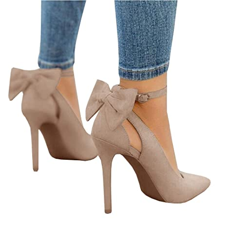 Details about Womens High Heels Pointed Toe Pumps Bowtie Back Ankle Buckle Strap Dress Shoes