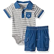 Calvin Klein Baby Boys' 2 Pieces Polo Short Set-Printed Top, Assorted N, 12M