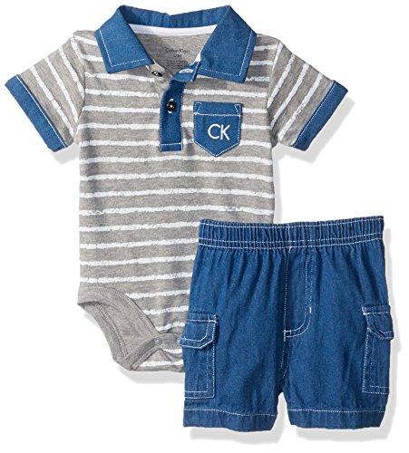 Calvin Klein Baby Boys' 2 Pieces Set-Cargo Twill Shorts, Light Gray/Blue, 0/3M