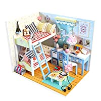 ROOMLIFE MiniDIYDollhouse One Room Miniature Model kit Tiny House Assembly Kit DIY DollhouseKit One Room Building Kit Great Birthday for Kids,Girls,Wife Great Home Tabletop Decoration