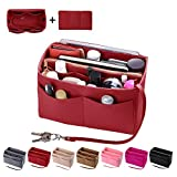 Purse Organizer Insert, Felt Bag organizer with zipper, Handbag & Tote Shaper, Fit LV Speedy, Neverfull, Longchamp, Tote (Slender Medium, Red)