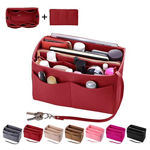 Purse Organizer Insert, Felt Bag organizer with zipper, Handbag & Tote Shaper, Fit LV Speedy, Neverfull, Longchamp, Tote (Slender Medium, Red) -