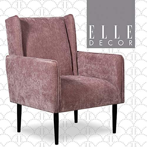 Elle Decor Baptiste Wingback Accent Chair, Modern Living Room Upholstery Furniture, Angled Arm Rests, Mauve Crushed Velvet