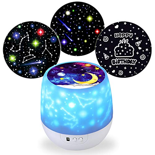 BNL Baby Night Lighting Lamp Moon Star Projector 360 Degree Rotation,Decorating Birthdays, Christmas, Holiday, Unique Gifts for Adults and Kids Best Baby Gifts Ever
