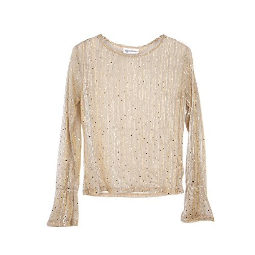 OUR WINGS Women Sexy Lace Mesh Flare Sleeve Sequin Top Blouse XL