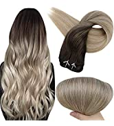 Full Shine Clip in Hair Extensions 16 Inch Real Hair Clip ins Balayage Color 2 Darkest Brown Fadi...