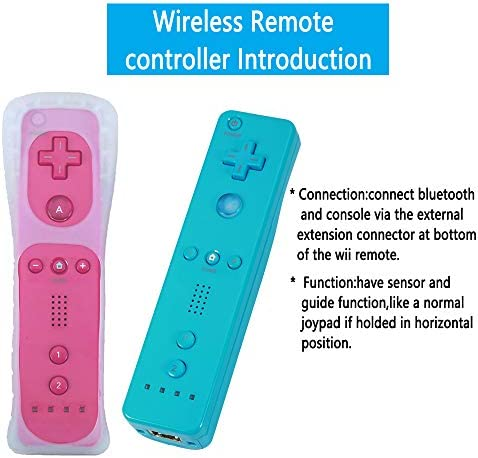 Lactivx - Mando a distancia para Wii, 2 paquetes de control de gestos inalámbrico con funda de silicona y correa de muñeca para consola Wii Wii U (rosa y azul) 4