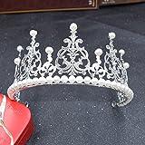 JANOU Crown Cake Topper Crystal Pearl Tiara Hair