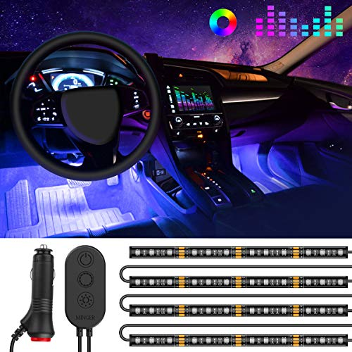 One-Line Car Interior Lights, Govee 4pcs 48 LED RGB Multicolor Music Car LED Strip Light, Waterproof Underdash Lighting Kits with Sound Active Function and Simple Control, 12V Car Charger Included