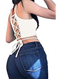 Women Sexy Sleeveless Back Cross Strap Tie Up Crop Top Tank Camisole