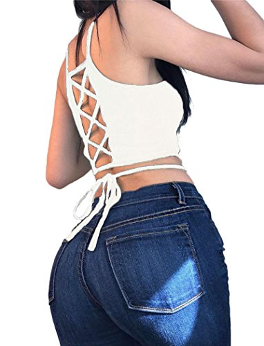 Women Juniors Teens Hollow Out Crisscross Strappy Backless Crop Tops Blouse T Shirt
