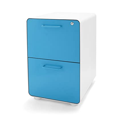 Poppin White + Pool Blue Stow 2 Drawer File Cabinet, Metal, Legal/