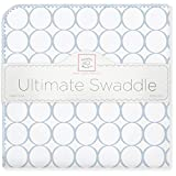 SwaddleDesigns Ultimate Receiving Blanket, Mod Circles, Pastel Blue