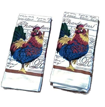 Gallo Tamaño Jumbo toalla de cocina, lino Bundle Paquete (Set de 2 toallas)